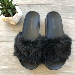 Black Fur Slides, Furry Slip-On Shoes